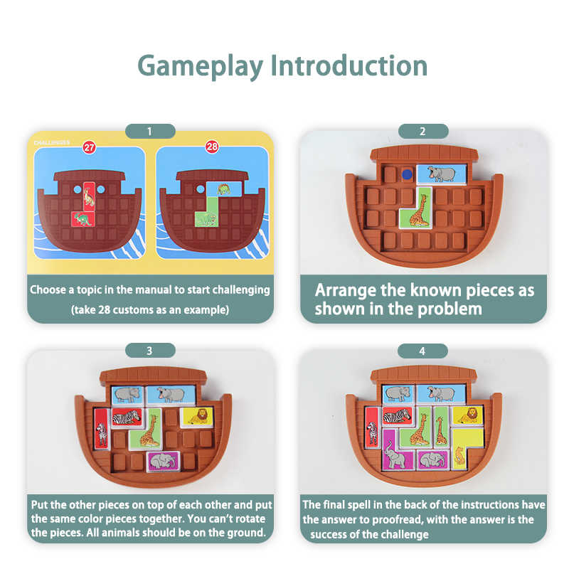 Mainan untuk Anak Dinosaurus Hewan Permainan Logika Pendidikan Mainan Permainan Puzzle Tangram Teka-teki Mengembangkan Keterampilan Penalaran Permainan Papan