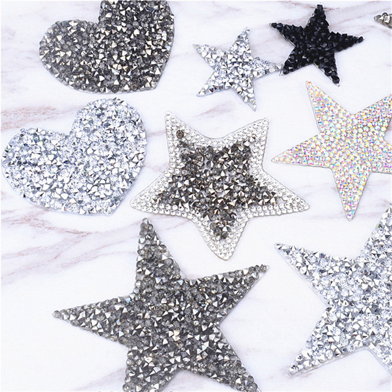 STAR LACE GOLD iron-on RHINESTONE stone diamante transfer CRYSTAL applique patch