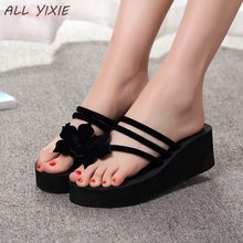 ALL YIXIE 2019 Wedge Sandals Women High-heeled Fashion Straped Slippers Beach Flip Flops Many Colors