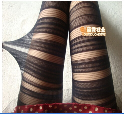 Striped Pantyhose Gray 108