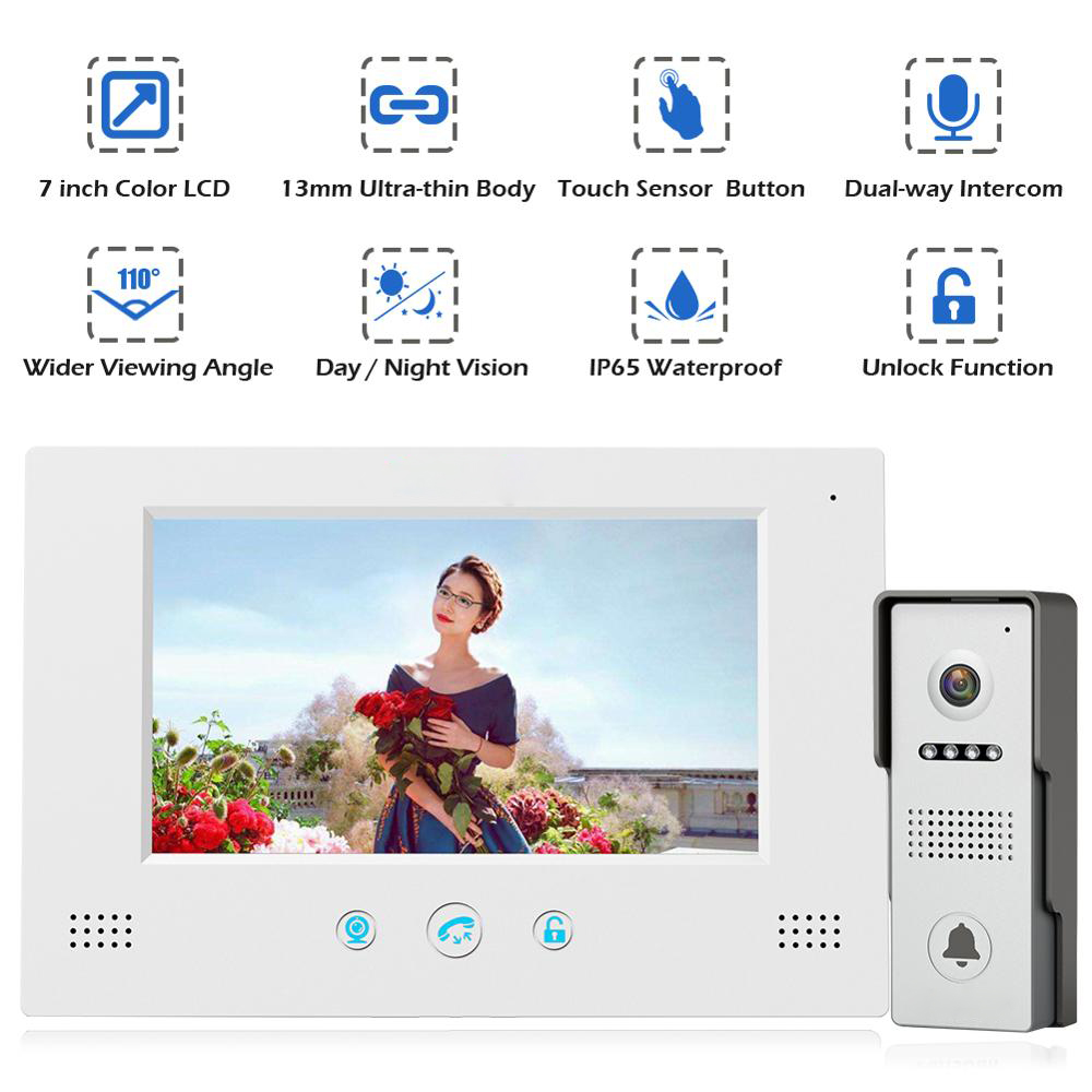 Video Door Phone Doorbell Wired Video Intercom System 7-inch Color Monitor And HD Camera With Door Release,Touch Button