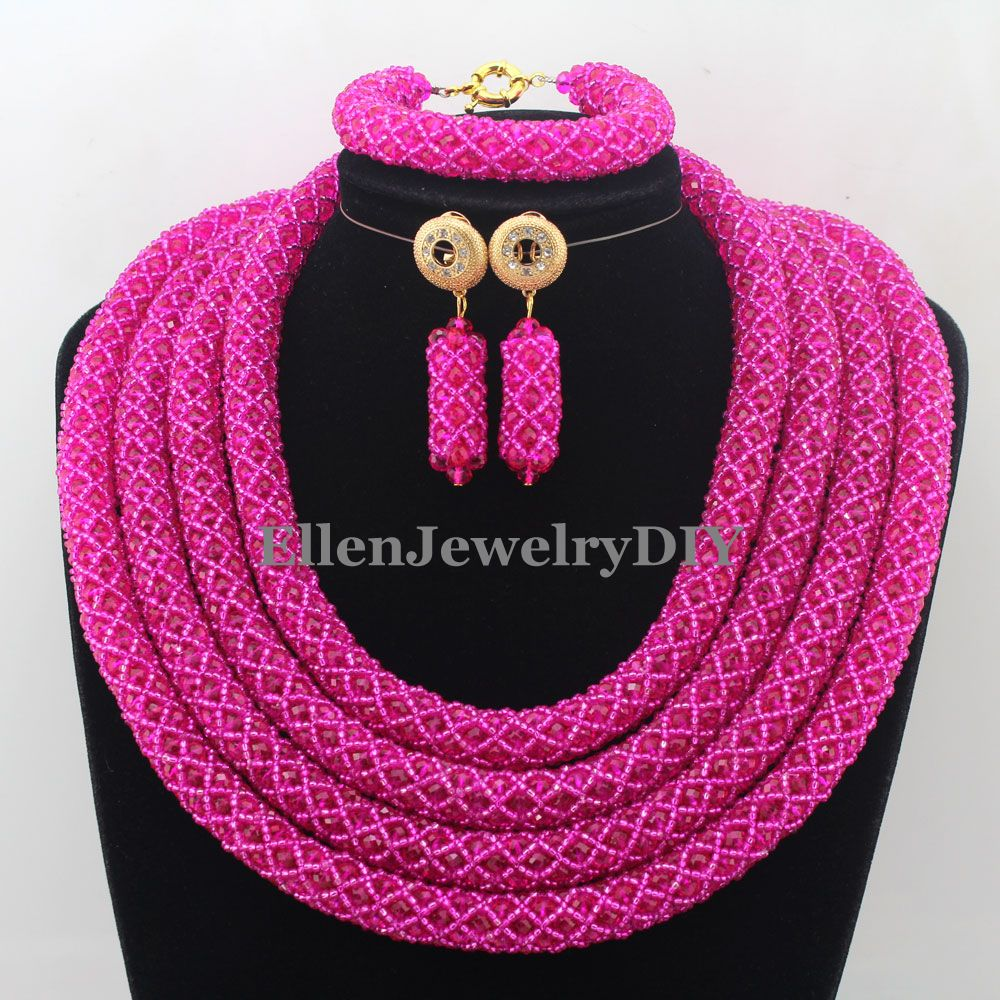 Splendid Statement Necklace African Beads Jewelry Sets Nigerian Wedding Crystal Jewelry Set Womens Jewellery Set W12662Splendid Statement Necklace African Beads Jewelry Sets Nigerian Wedding Crystal Jewelry Set Womens Jewellery Set W12662