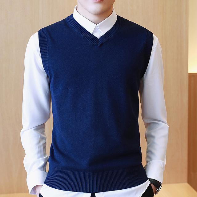 2016 Polo do Homem Camisola Sem Mangas Clássico Colete Designer de Malhas de Gola V Plus Size S-3XL Disponível Colete
