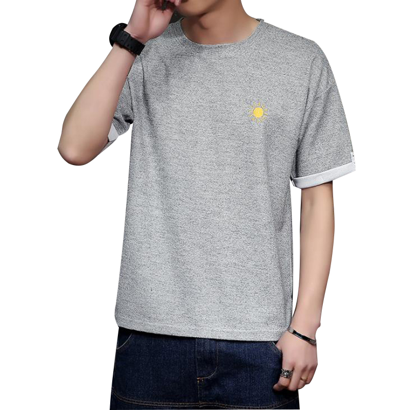 Mens Korean Slim Fit T Shirt Version High Quality Chest Weather Print Short-Sleeved Cotton T-Shirt Man Summer Brand Clothing