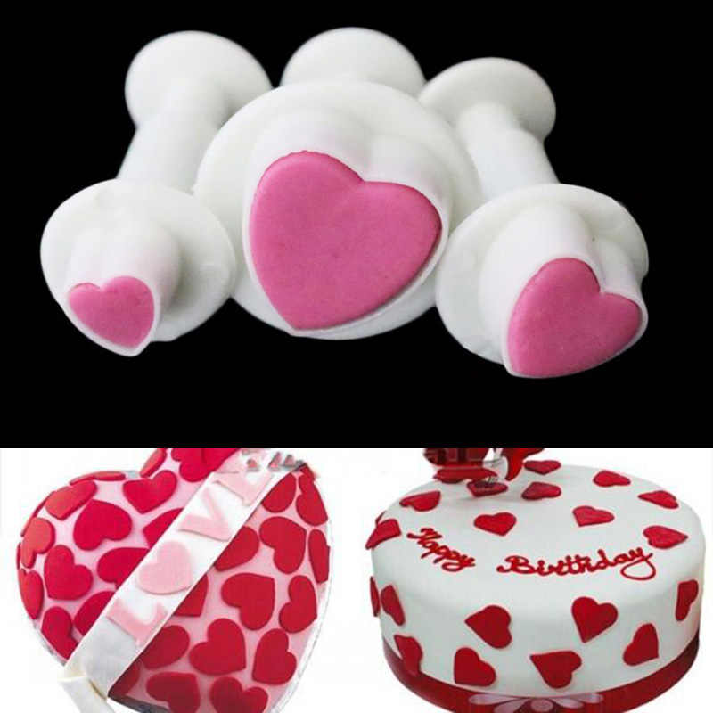 3pcs/set Heart Shape Cake Decorating Tools Baking Mold Cookies Cutters Cake Moulds Forms For Cookies Bakeware  1576
