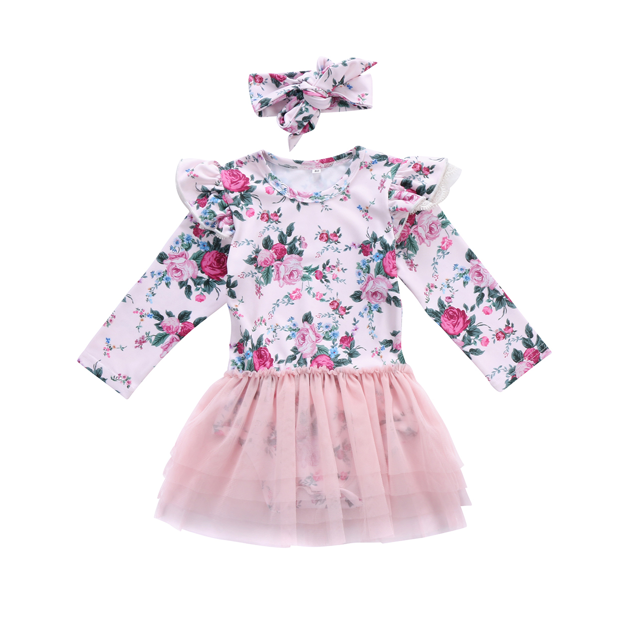 2Pcs Adorable Toddle Infant Baby Girl Casual Fly Sleeve Floral Romper Voile Ball Gown Bow Headband Outfit 0-24M