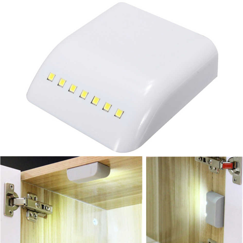 Cabinet Hinges Light 7 LED Control Sensor Night Lamp ABS Universal for Kitchen Cupboard Closet Wardrobe Home Furniture Hardware