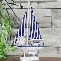 15CM Wood Sailing Ship Model American Mediterranean White Blue Boat Nautical Home Decor Handmade Boat Gifts