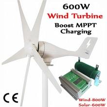 600W  wind generator MAX 830W turbine+1400W MPPT hybrid charge controller for 800W turbine generator+600W solar panels