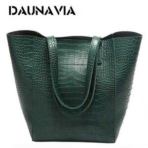 Image 1 - DAUNAVIA ผู้หญิงจระเข้กระเป๋ากระเป๋าถือ Crossbody กระเป๋าสำหรับสุภาพสตรีกระเป๋า Messenger กระเป๋าออกแบบกระเป๋าถือหนัง