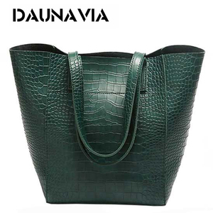 Image 1 - DAUNAVIA Women Alligator bucket bags Handbags Crossbody Bags For Women Shoulder Bags Messenger Bag Designer Leather Handbags