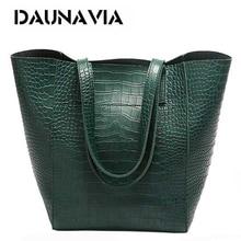 Daunavia 女性ワニ口バケットバッグハンドバッグクロスボディバッグ女性のショルダーバッグメッセンジャーバッグデザイナー革ハンドバッグ