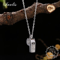 INALIS Luxury Zircon Whistle Pendant Necklace 925 Sterling Silver Collier Gift For Women Lover Fine Jewelry