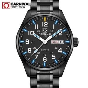 Mechanizm kwarcowy z podwójnym kalendarzem data tryt Luminous zegarek wojskowy wodoodporny 30M karnawał luksusowe zegarki biznesowe męskie
