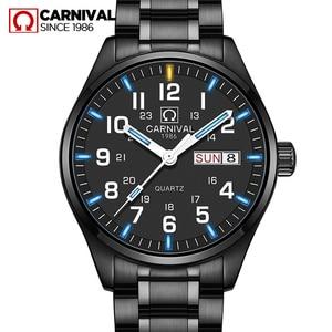 Movimiento de cuarzo Doble calendario Fecha militar Tritio Luminoso reloj resistente al agua 30 M CARNAVAL de Lujo de Negocios Relojes Para Hombre