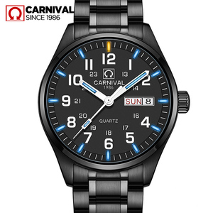 Quartz movement Double calendar Date Tritium Luminous military watch waterproof 30M CARNIVAL Luxury Business Watches Mens