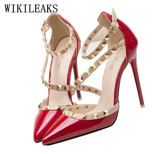 d1856cdd47 Designer de rebites saltos sapatos mulher vermelha extrema salto alto mary  jane sapatos de casamento italiano
