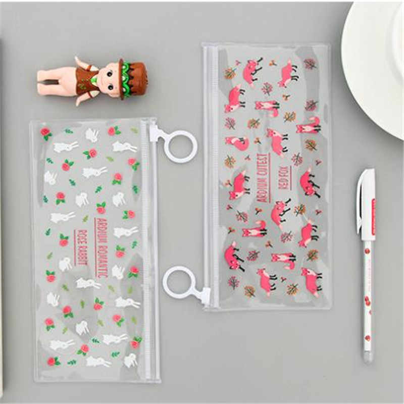 PVC Transparan Pensil Tas Misterius Bunga Kecil Hewan Tahan Air Penyimpanan Alat Tulis Kantor Sekolah Pensil Case