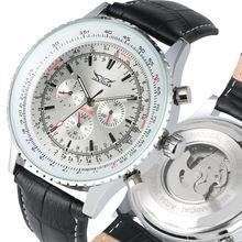 2019 Three Eye Skeleton Watches Leather Band Automatic Mechanical Watch Calendar Function Male Clock reloj automatico de hombre цена и фото