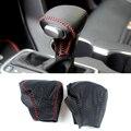 Cow Leather Cover For Kia Rio K2 Sportage Optima K5 niro 2017 2018 AUTOMATIC Gear Head Shift Knob Cover Gear Shift Collars Case