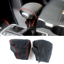 все цены на Genuine Leather Cover For Kia Sportage 2016 2017 AUTOMATIC Gear Head Shift Knob Cover Gear Shift Collars Case Red/Black Stitch онлайн