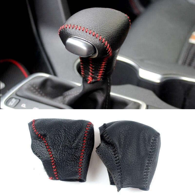 Genuine Leather Cover For Kia Rio K2 Sportage Optima K5 2016 2017 AUTOMATIC Gear Head Shift Knob Cover Gear Shift Collar Case автомобильный коврик klever standard для kia sportage 2016