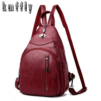 KMFFLY Women Vintage Backpacks For School Small Shoulder Bag Female Backpack For Teenage Girls Sac a Dos Softback Preppy Style