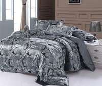 Paisley bedding set super king size queen doppio grigio Argento raso trapunta copripiumino montato lenzuola copriletto in Seta doona 6 pz