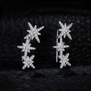 Image 2 - JewelryPalace כוכב מעוקב Zirconia עגילי חישוק 925 עגילי כסף סטרלינג לנשים קוריאני עגילי תכשיטים 2020