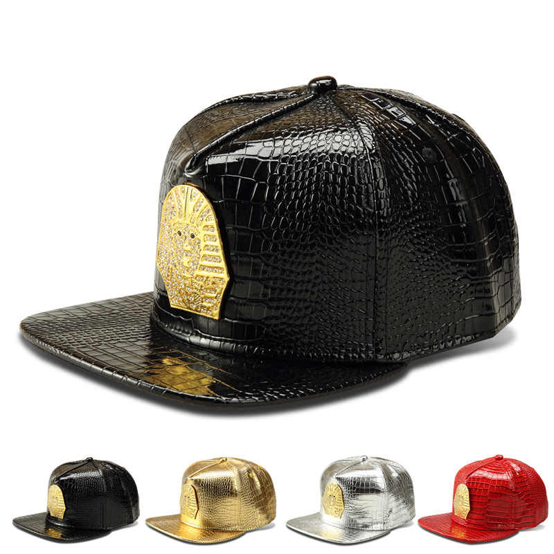 2016 Vogue PU Leather Pharaoh Copper baseball caps Golden Crocodile Last  king hip hop hats men b5c5ba0d26ff