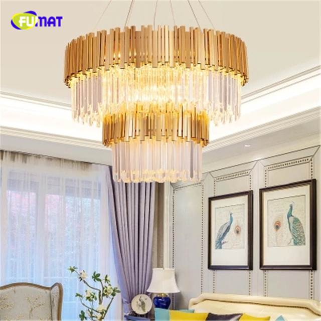 FUMAT Round Cake Shape Gold Crystal K9 Stainess Steel LED Pendant Lamp Luxury Lustres Suitable For Dining Room Foyer Kitchen Etc