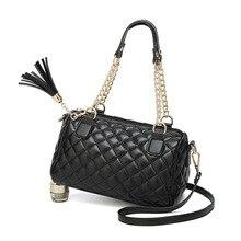 New Fashion Good PU Black Rhombus Chain Handbag Business OL Ladies Casual Hand Shoulder Bag