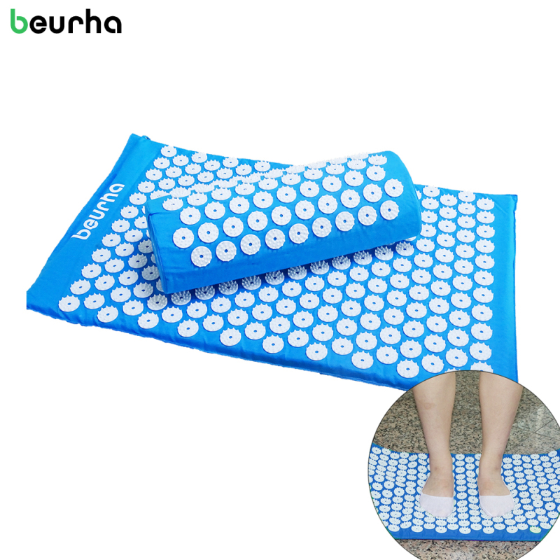 Beurha Yoga Massager Mat Set Massager Pillow Lotus Spikes Acupressure Feet Relieve Stress Pain Back and Portable Carry Bag Socks 4 4 5