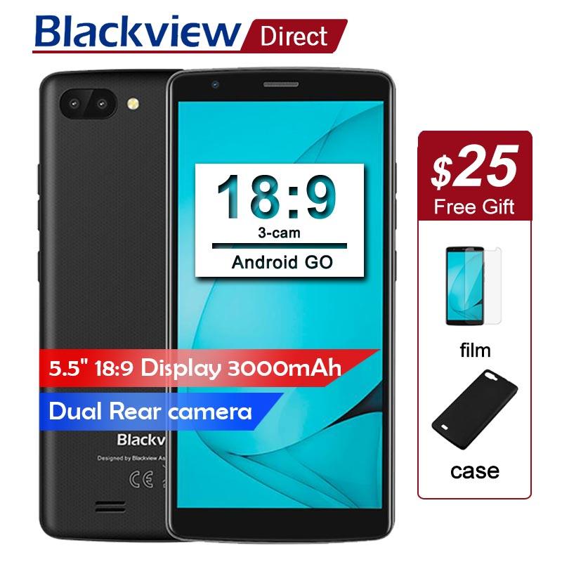 Originale Blackview A20 Smartphone 5.5 pollice 18:9 schermo Intero Android Go telefoni cellulari dual Telecamera posteriore 5MP 1 gb + 8 gb 3g telefoni Cellulari