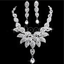 New Crystal Flower Necklace Earring Leaf Wedding Bridal Bridesmaid Jewelry Set