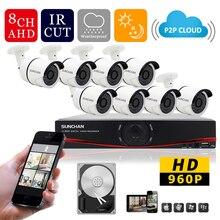 SUNCHAN 8Channel AHD DVR Kit 1500TVL CCTV System w 8pcs 1.3MP 960P AHD Camera 36 LEDs Outdoor 1080P HDMI CCTV Camera System 1TB