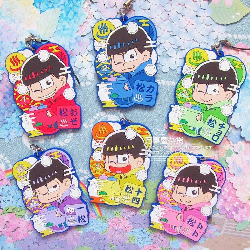 Osomatsu Kun Anime Jyushimatsu Todomatsu Ichimatsu Karamatsu Choromatsu Japanese Rubber Keychain new six same faces konya wa saikou mr osomatsu san ed anime cosplay nylon wallet osomatsu san bags
