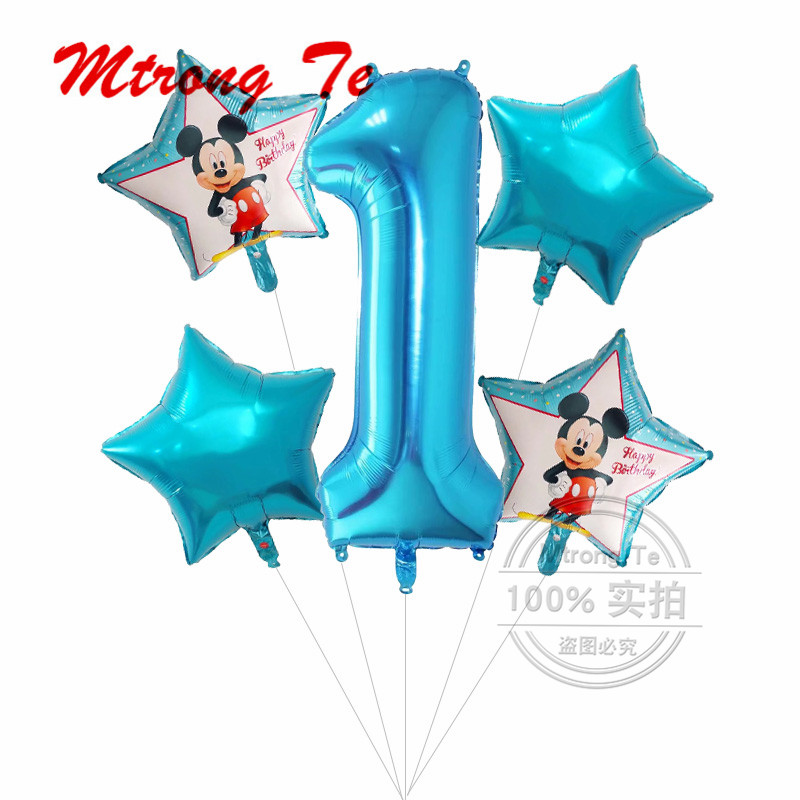5pcs Happy Birthday Decoration Balloon Mickey Minnie Mouse 18inch Star 40 Number Helium Foil Balloons Baby 1th Birthday Globos
