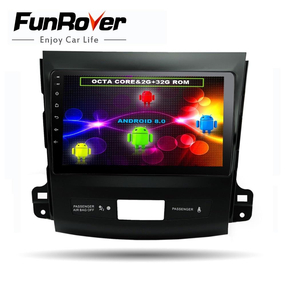 Funrover 8 ядер 9 Android8.0 Автомобильный dvd Радио gps navi мультимедиа для Mitsubishi Outlander 2014-4007 peugeot 2006 Citroen C-Crosser