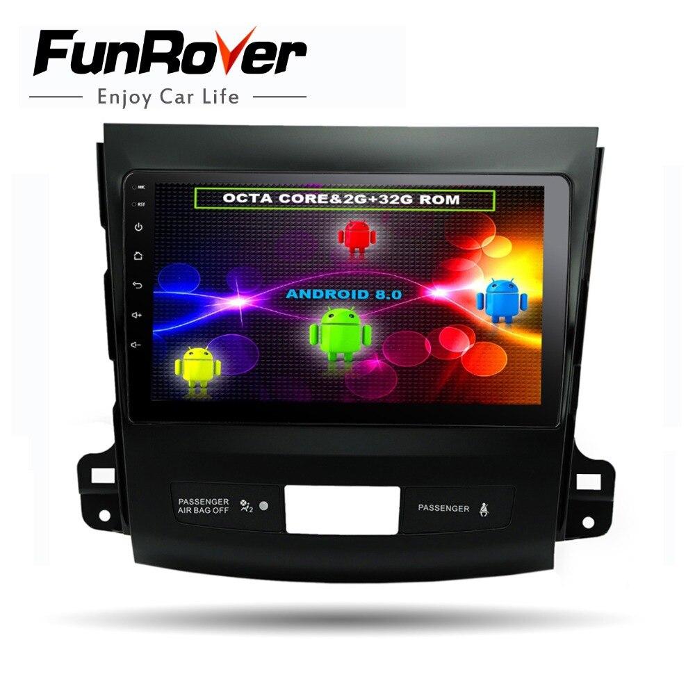 Funrover 8 noyaux 9 Android8.0 dvd de voiture radio gps navi multimédia pour Mitsubishi Outlander 2006-2014 Peugeot 4007 Citroen C -Crosser