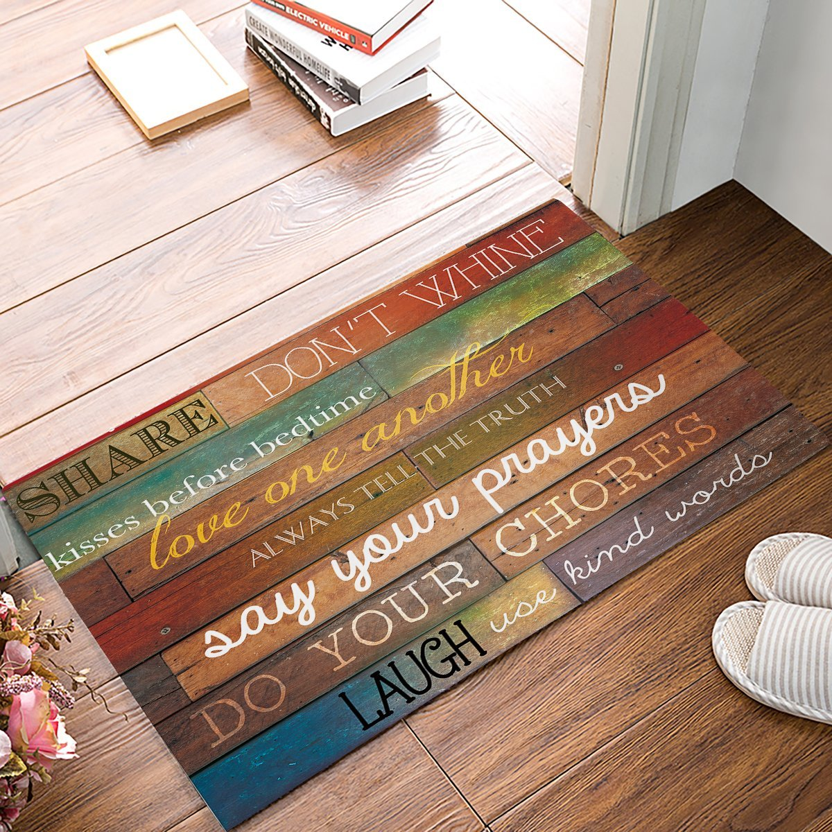 Family Rules Educational Rustic Wood Door Mats Kitchen Floor Bath Entrance Rug Mat Absorbent Indoor Bathroom Rubber Non Slip