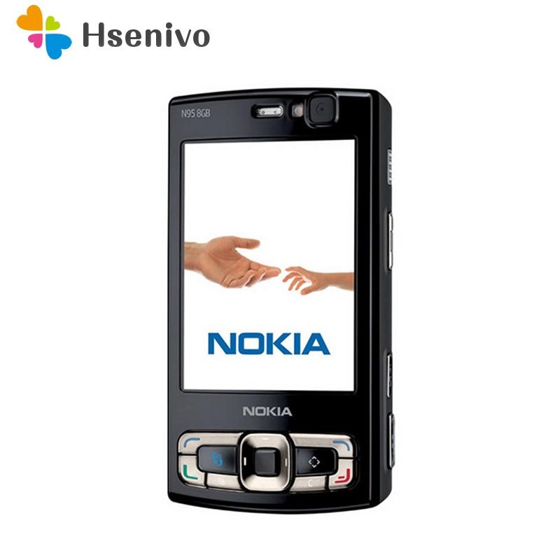 Оригинальный Nokia N95 8GB мобильного телефона 3g 5MP Wi-Fi gps 2,8 ''экран GSM разблокирован русская клавиатура арабская клавиатура Восстановленное