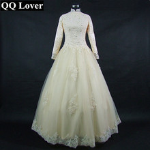 QQ Lover 2018 New Champagne Wedding Dress Long Sleeves Lace Vestido De Noiva Custom-made Plus Size Wedding Gown Bridal Dress