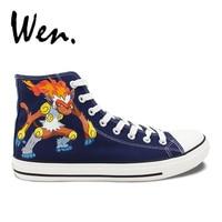 Wen Hand Painted Anime Skateboarding Shoes Dark Blue Design Custom Pocket Monster Pokemon Infernape High Top Canvas Sneakers