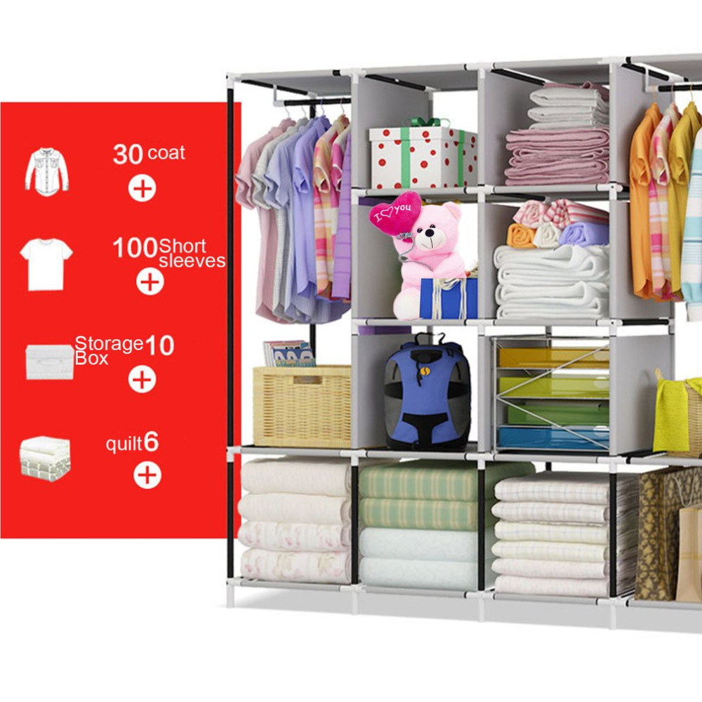 Modern Simple Wardrobe Household Fabric Folding Cloth Ward Storage Assembly King Size Reinforcement Combination Simple Wardrobe the new cloth wardrobe simple reinforcement of low housing assembly large folding cloth