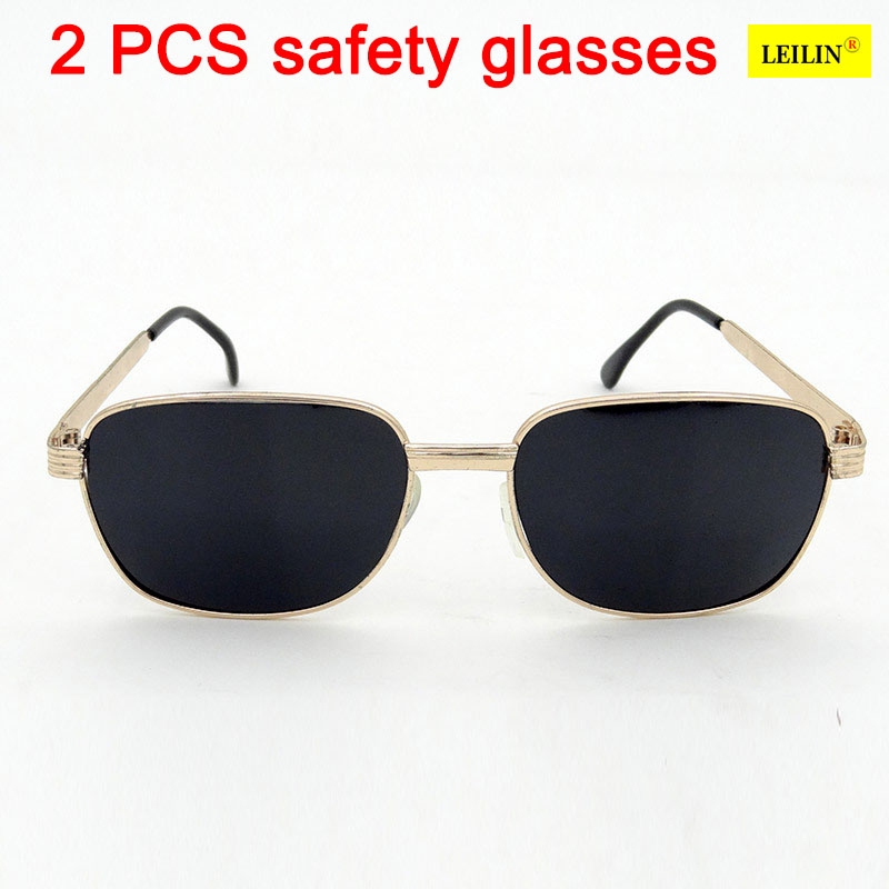 2 PCS protective glasses safety The metal frame black PC laser goggles High Quality Uv protection, protective glasses safety