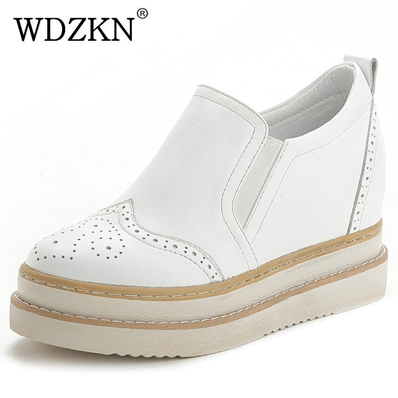 WDZKN 2017 High Heels Women Platform Pumps Slip On Hidden Heel Retro Handmade Genuine Leather Women Wedge Casual Shoes HZ0703 cicime women s heels thin heel spikes heels solid slip on wedding fashion leisure casual party dressing high heel platform pumps
