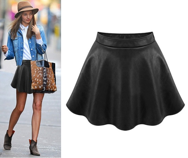 fashion girl 39 s leather skirt look a line matt skater pleated mini skirt short sexy empire. Black Bedroom Furniture Sets. Home Design Ideas