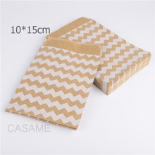 100PCS 15CM*10CM Chevron diy kraft Paper Popcorn bag Food Safe Favor birthday bags Designs of Party craft Bags