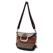Женские холщовые полосатые сумки через плечо, винтажные женские сумки контрастного цвета для отдыха, сумки-тоут, новинка, модная женская сумка на плечо